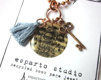 Book Page Flower Charm Necklace, Feather Necklace, Book Jewelery, Books Gift, Book Lover Literary Jewelry