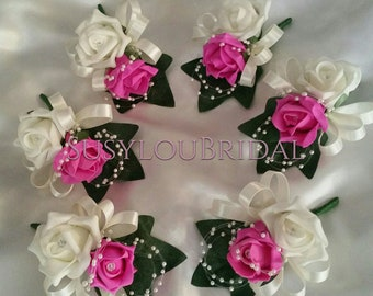 Fuchsia Double Buttonholes x 6 With Pearls And Ribbons