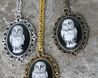 Owl cameo necklace - your choice of colors