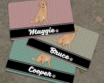 Personalized RETRIEVER Placemat - DOG BREED Themed Placemat - Dog Mat - Pet Food Mat - Rubber Placemat