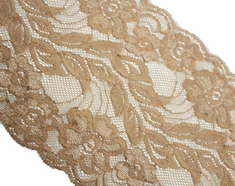 3 YARDS of Stretch Brown Wide Lace Trim Ribbon for Crafts