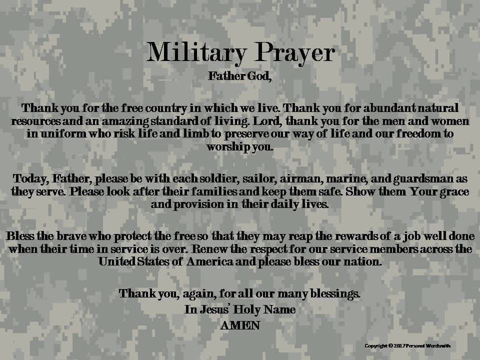 Armed Forces Prayer Print Memorial Day Military Prayer