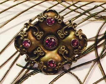 Stunning Art Nouveau Italian Silver flower Open Back Purple Crystal Vintage Antique Brooch Art Nouveau Jewelry