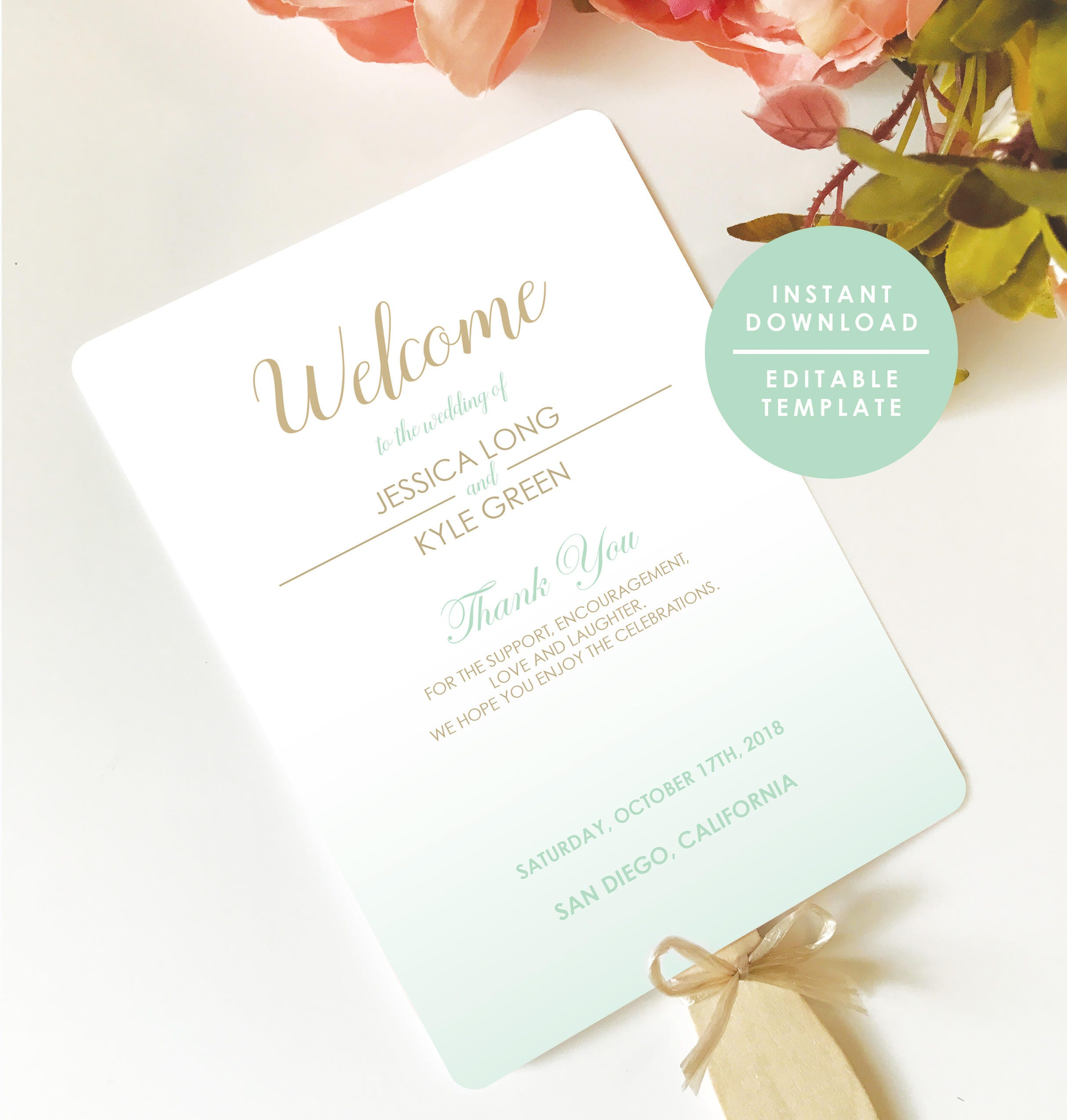 Mint Green Wedding Program Mint Program Fan Program