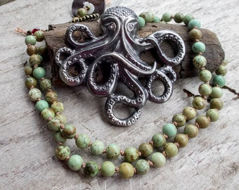 Octopus Necklace || Under the Sea | Sea Lover | Octopus Lover | Turquoise | Earthy | Organic | Hand-knotted Necklace | OOAK | Ocean Life