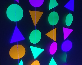 Triangle and Circle Fluorescent Neon Garlands for Black Light Parties