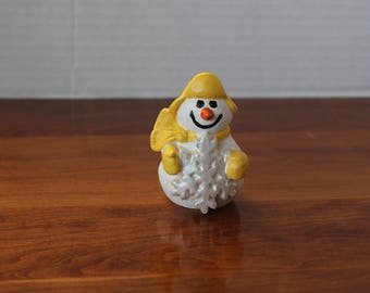 Bisque snowman with snowflake hand painted