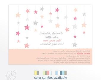 Twinkle, Twinkle Little Star Baby Shower Invitation, Pink Baby Girl Shower Invitations, Star Invitation, Girl Baby Shower Invitations Stars