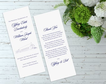 Classic Elegant Wedding Program - (Classic, Elegant, Romantic, Sophisticated, Custom Wedding Program in Navy & Cream)