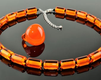 Necklace + Ring, Orange