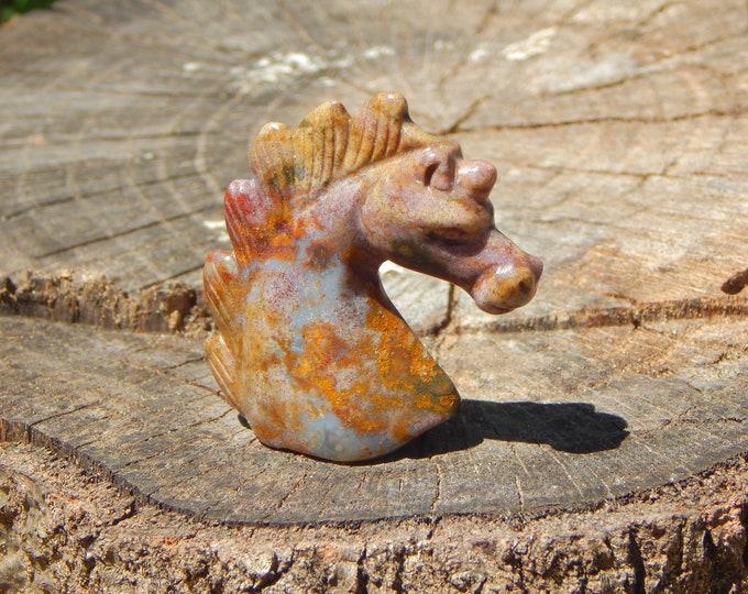 Baby UNICORN Ocean Jasper hand-carved bust self standing natural gemstone  - Reiki Wicca Pagan Geology gemstone spirit animal