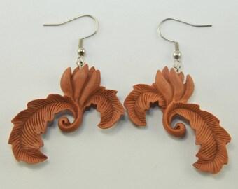 Rose Stem Earrings Hooks, Dangling