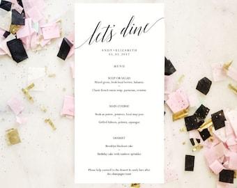 Wedding Menu Template, Printable Menu Template, Instant Download, Printable Wedding Template, Reception Menu, Rehearsal Dinner, Wedding Sign