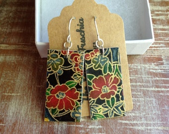 Paper earrings, rectangle with red flowers