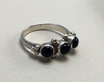 Black stone ring, black onyx ring, black gemstone ring, silver onyx ring, geometric ring, bohemian ring, silver rings