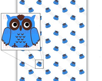 Owl Patterned Paper for Scrapbooking and Gift Wrapping Printable Color Digital PDF (custom colors available)