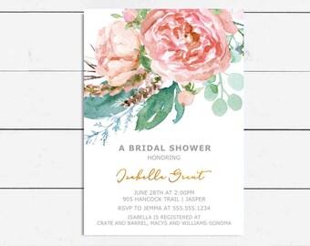Wedding Shower Invitation Floral Bridal Shower Modern Bridal Tea Baby Shower Invitation Bridal Brunch Bridal Tea DIY Printable
