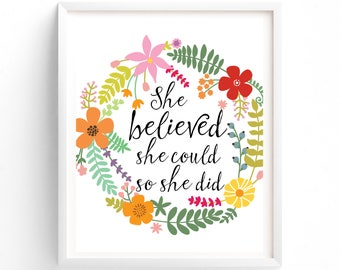 She Believed She Could, Printable, Prints, Printas Wall art, Printable Art, Positive Thinking, Affirmation Wall Art Prints
