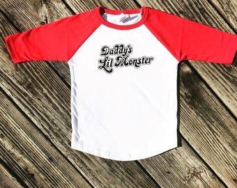 Toddler Harley Quinn Shirt, Daddy's Lil Monster Shirt, Harley Quinn Costume Shirt, Harley Quinn Baseball Tee