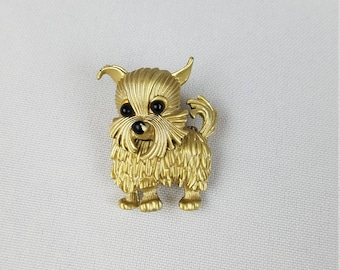 Vintage gold tone dog brooch jewelry