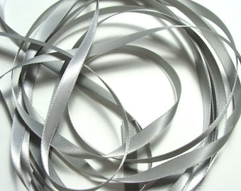 "1/4"" Double-faced Satin Ribbon - Silver - 10 yards"