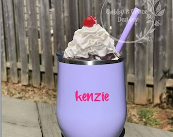 ice cream party favor, ice cream birthday party, personalized ice cream cup, stainless steel tumbler, 12 oz. stainless steel tumbler
