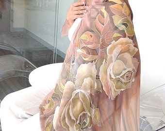 """Pure silk batic scarf """"Roses Cappuccino"""" handmade' Silk, manual list of silk, Hand painted silk scarf, scarf, Mother's Day Gift"""