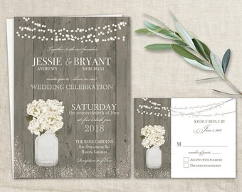 Rustic Wedding Invitations Printable Suite + RSVP Mason Jar Ranunculus Floral Spring Wedding Country Wedding Barn Wood String Light Template