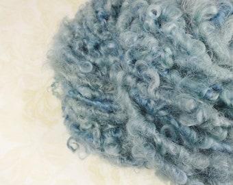 Handspun Bulky Art Yarn Lockspun 40 yards Wool Locks Fleece denim blues