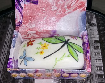 Customize SOAP Dragonfly and flowers with box