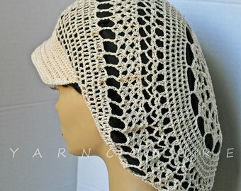 Limited Edition Crochet Lace Hat w/Brim - Satin Lined
