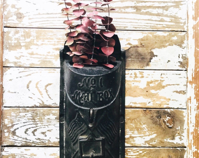 Vintage Cast Iron Mailbox // Wall Hanging