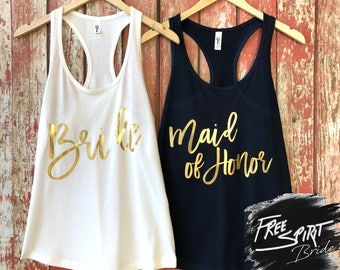 Gold Foil Bride Shirt • Gold Foil Maid Of Honor Shirt • Bridesmaid Tank Top • Bridal Party • Wedding Party Gift • Bride • Bachelorette Party