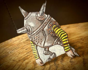 Labyrinth Inspired Cannonball Goblin Leather Brooch