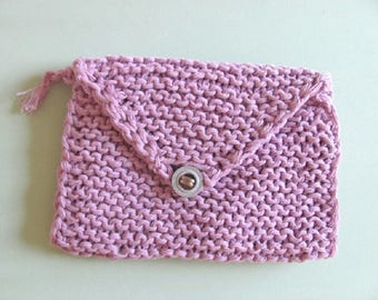 Small crocheted pouch In light lilac, size approx. 19 x 13 cm