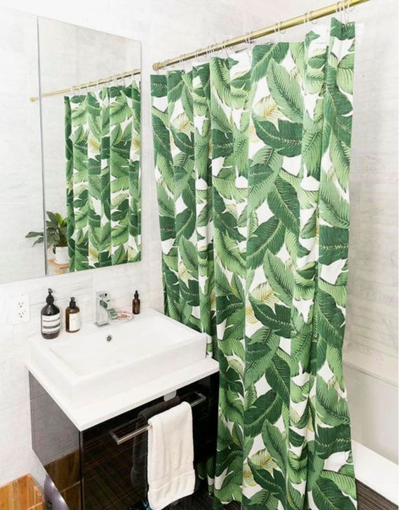 Palm Leaf Shower Curtain Banana Leaf Fabric Tropical Jungalow