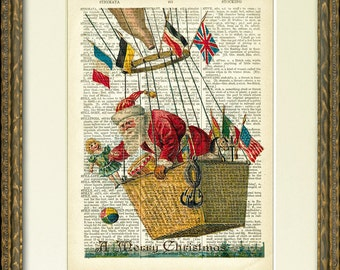 Santa in a hot air balloon - SANTA IN FLIGHT 01 dictionary art print - 1800's dictionary page with Santa - fun vintage Christmas wall decor