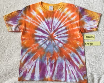 Youth Large Multi-Color Spiral Short Sleeve Tie Dye T-Shirt