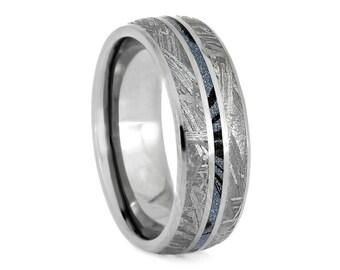 Blue Meteorite Ring, Titanium Wedding Band With Mokume Gane, Mixed Metal Jewelry, Gibeon Meteorite Ring