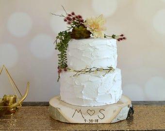 Personalized Wood Slice Cake Stand ~ Personalized Cake Stand ~ Stump Cake Stand ~ Personalized Cake Plate ~ Garden Wedding ~ Birch & Birch cake stand   Etsy