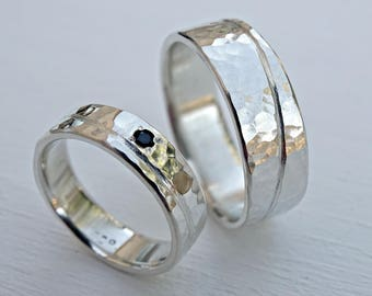 unique wedding bands silver, matching promise rings silver, matching ring set his and hers, personalized wedding rings ocean rings gemstone