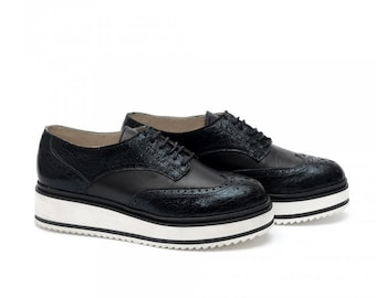 Women Black Oxford Genuine Leather Shoes by Galdi, 18113