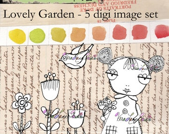 Whimsical girl with florals - 5 image digi stamp set