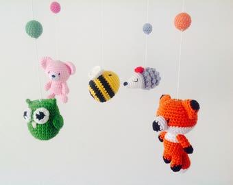 Crochet Woodland Baby Mobile, Woodland Animal Mobile, Woodland animal, Woodland Baby Mobile, Woodland Animal Mobile, Fox Bear Baby Mobile