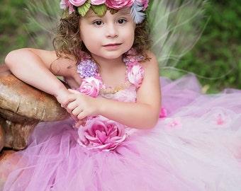 Flower crown, flower headpiece, fairy crown, fairy flower crown flower girl flower crown, flower headband, fairy hairpiece