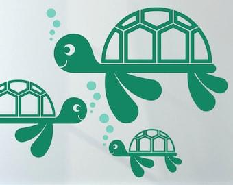 Sea Turtle Wall Decal Ocean Baby Under the Sea Nursery Underwater Beach Kids Room Decor