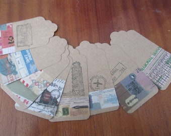 TRAVEL COLLECTION: 80 labels 9.5 x 4.5 cm decorated on the theme of travel