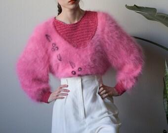 pink patchwork angora sweater / embroidered angora sweater / s / m / 3742t / B21