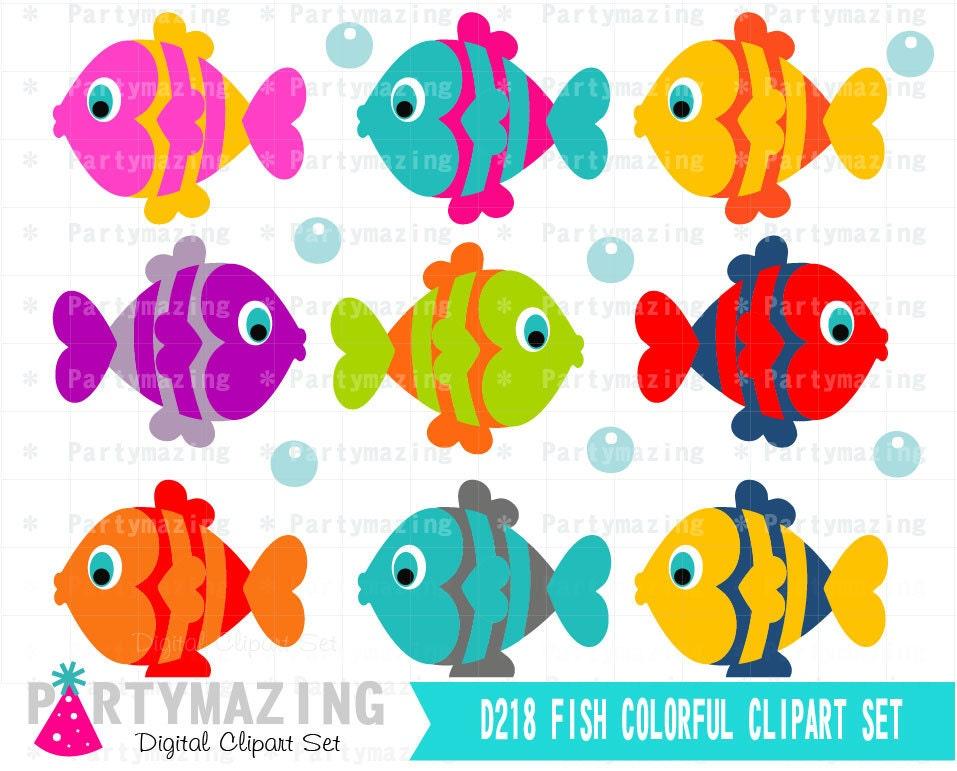fish clipart set clip art graphic instant download d218 rh etsy com clip art fish pie clip art fishing rod