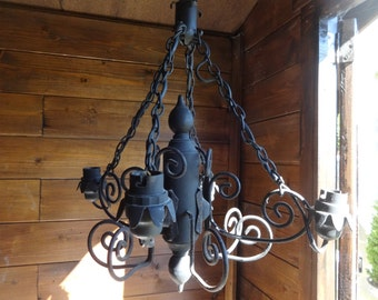 Vintage French four bulb black metal gothic chandelier electric lamp light circa 1970-80's / English Shop